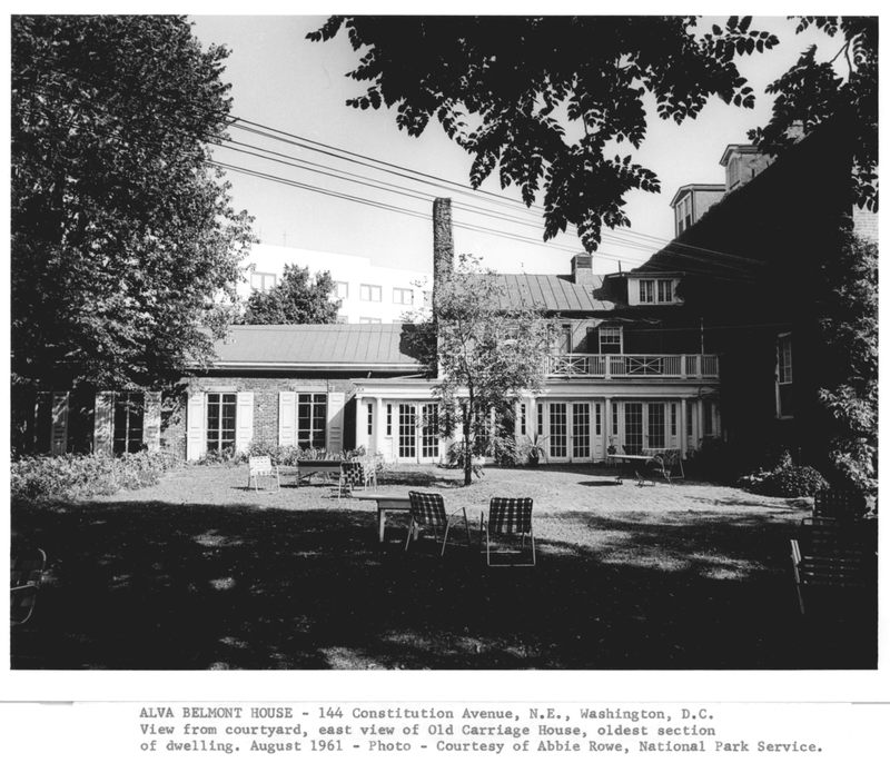 Alva Belmont House, view from the courtyard, August 1961